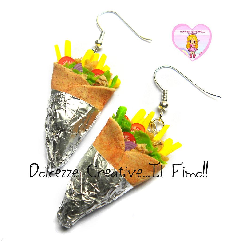 Orecchini KEBAB piada arrotolata - handmade idea regalo cibo etnico kawaii fimo miniature (su commissione)