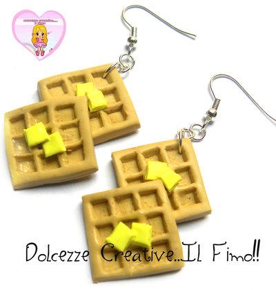 Orecchini doppi Waffle al burro - miniature handmade fimo cernit