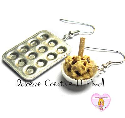 Orecchini impasto muffin - cupcake - e teglia! miniature kawaii dollhouse