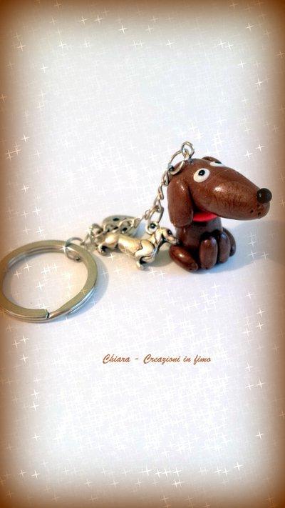 Portachiavi in fimo handmade Cane Bassotto kawaii miniature idee regalo amica compleanno bomboniere