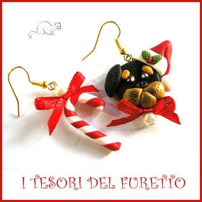 """Orecchini Natale 2016 """" Rottweiler e bastoncino di zucchero """" Fimo cernit Kawaii idea regalo natalizio bambina ragazza clip cane cagnolino"""