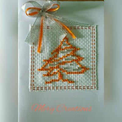 Biglietti di auguri natalizi, ricamo punto croce