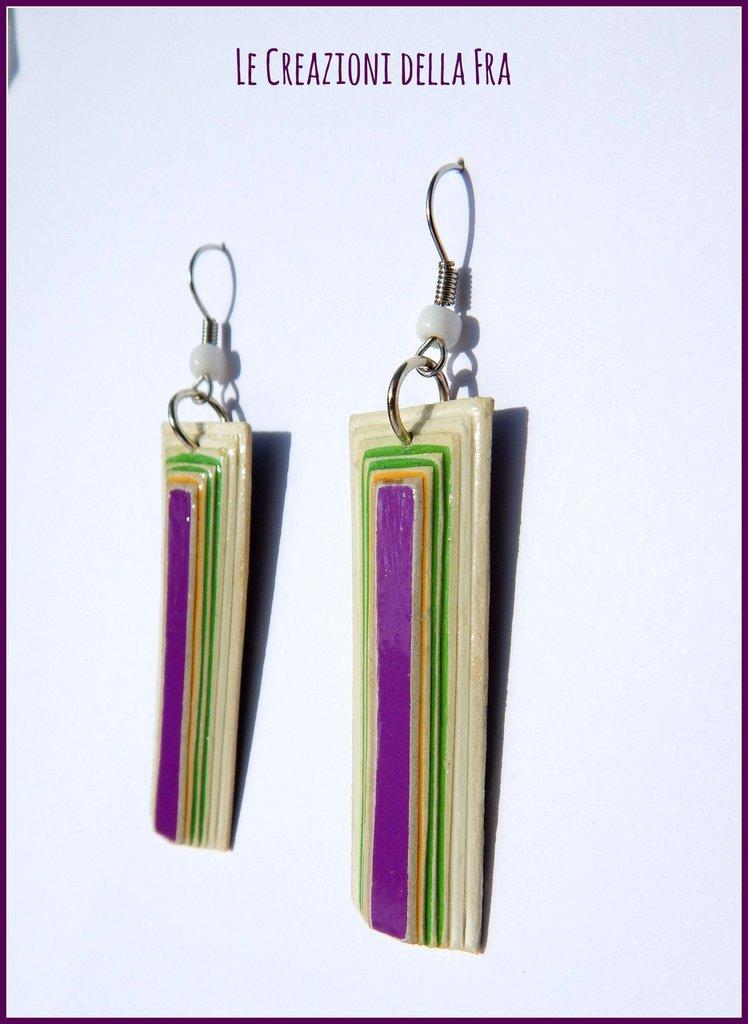 Orecchini rettangolo IN CARTONCINO RICICLATO - bianco, verde, viola e giallo