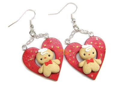 Orecchini pan di zenzero su cuore rosso gingerbreadman idea regalo natale fimo Kawaii