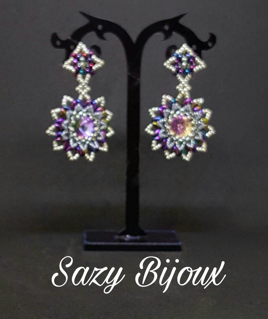 SAZY FOR YOU: Orecchini a perno  in tessitura di perline con Cristalli Swarovski