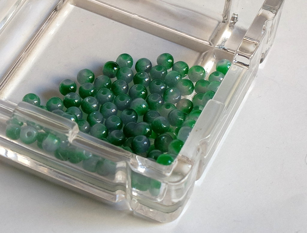 20 Perle di vetro verde MELANGE 4 mm PRL 382
