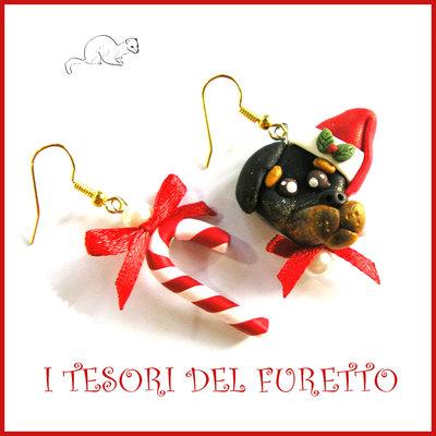 """Orecchini Natale 2016 """" Bassotto bastoncino di zucchero """" Fimo cernit Kawaii idea regalo natalizio bambina ragazza clip cane cagnolino"""