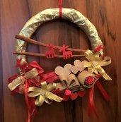 Ghirlanda Natalizia, idea regalo donna, raffinata decorazione made in ltaly, corona fuori porta