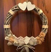 Ghirlanda in legno, idea regalo donna, raffinata decorazione made in ltaly, corona fuori porta