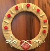 Ghirlanda su juta, idea regalo donna, raffinata decorazione made in ltaly, corona fuori porta