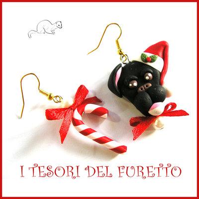 """Orecchini Natale 2016 """" Pittbull nero"""" Fimo cernit Kawaii idea regalo natalizio bambina ragazza clip cane cagnolino"""