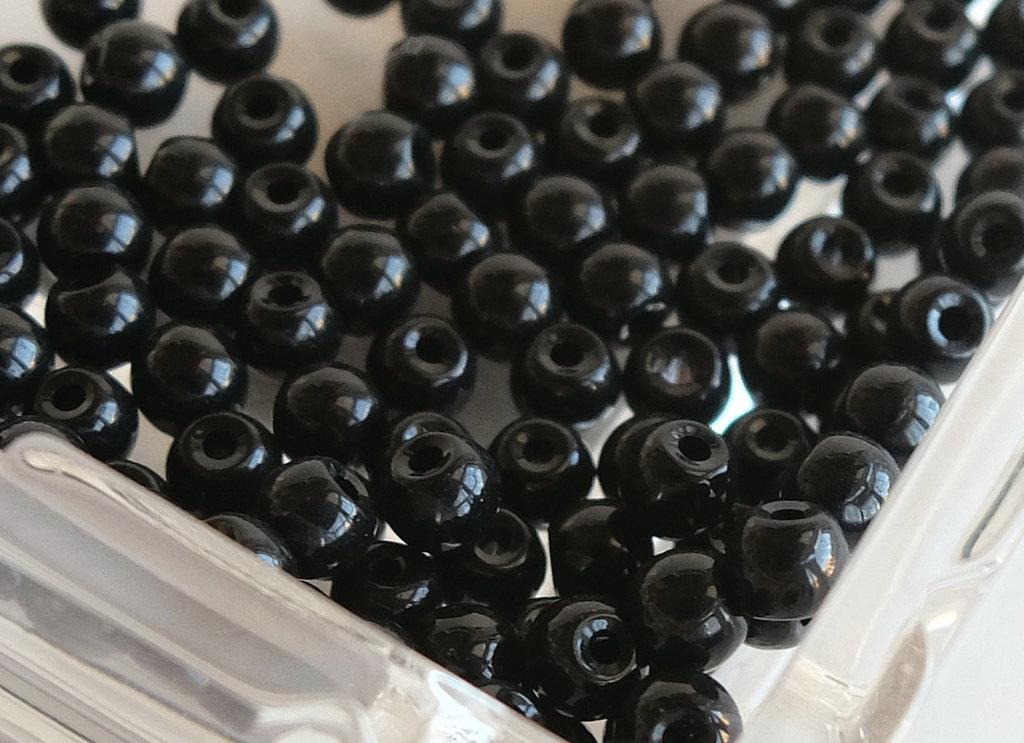 20 Perle di vetro NERO 4 mm PRL401