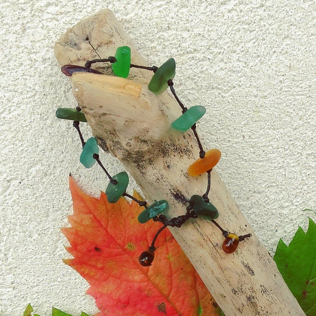 Bracciale in vetro di mare -Foglie d'autunno