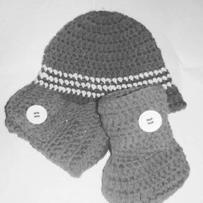 Stivaletti e cappellino neonato bebè unisex LANA stile Ugg grigio