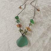 Collana boho aggiustabile con vetri di mare - Foglie d' autunno