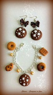 Idea regalo Natale Bracciale + orecchini pan di stelle biscotti kawaii regalo epifania calza befana