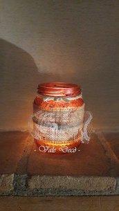 Barattolo in vetro porta candela decorato a mano