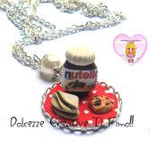 Collana Vassoio Nutella con biscotti e crepes - tovaglia kawaii pois miniature