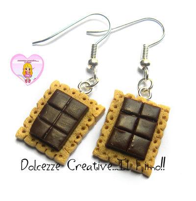Orecchini kawaii con cioccolata - miniature kawaii handmade