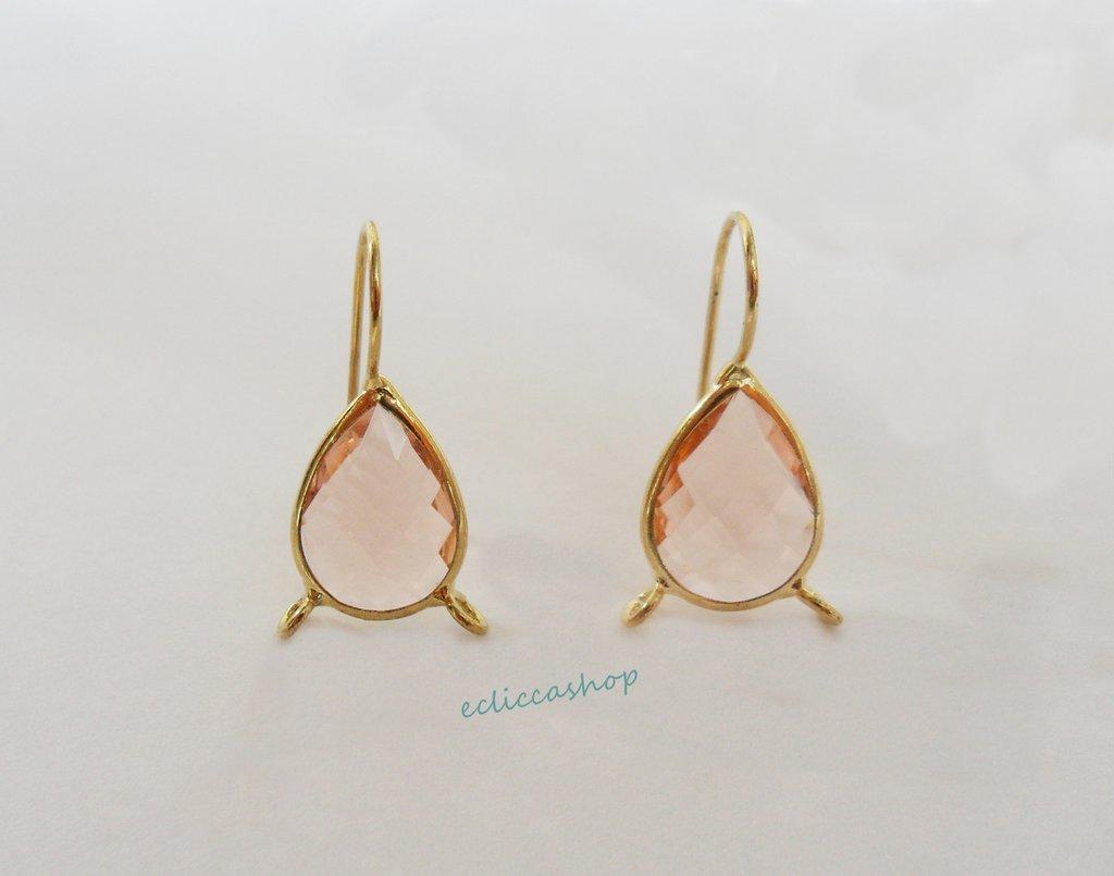 Base orecchini a goccia in ottone con mezzo cristallo Doppia Asola  (1 coppia)