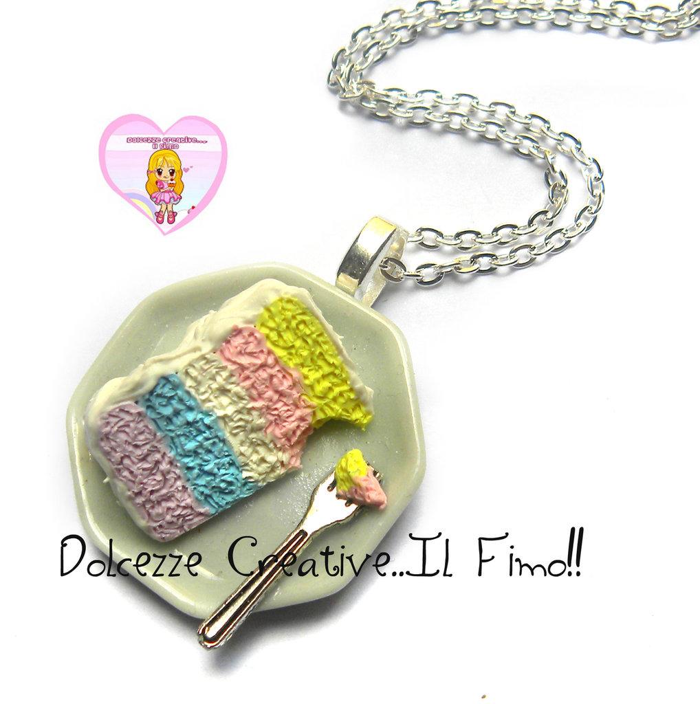 Collana con fetta di torta arcobaleno - Unicorno! - handmade piatto idea regalo