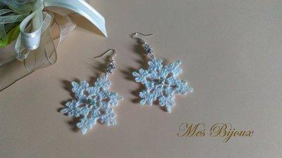 Orecchini moda uncinetto fiocco di neve pizzo bianco idea regalo donna ragazza