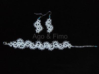 Parure di orecchini e braccialetto chiacchierino pizzo azzurro chiaro