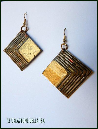 Orecchini quadrato IN CARTONCINO RICICLATO - verde bottiglia e oro