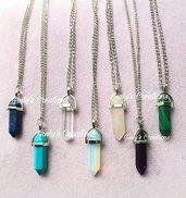 Collana gemme portafortuna cristallo proiettile quarzo ametista gem stone chakra