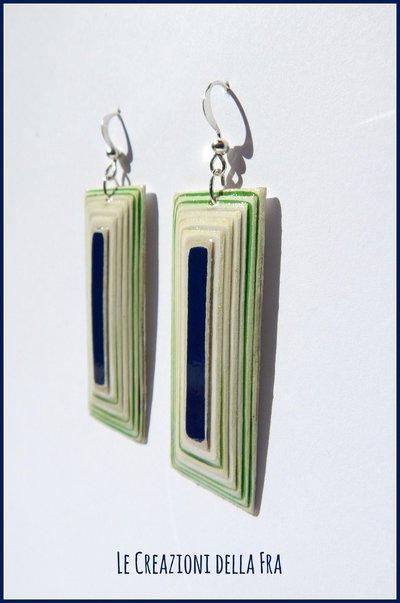 Orecchini rettangolo IN CARTONCINO RICICLATO - bianco, blu e verde