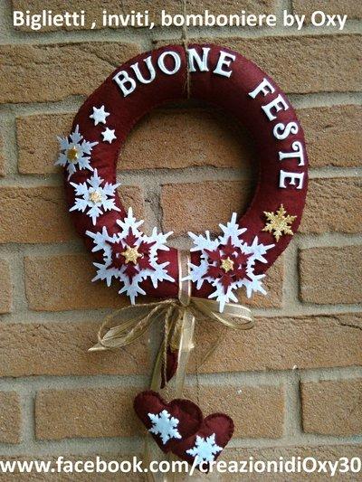 Corona Fuoriporta Natale Bordeaux Fiocchi di neve.
