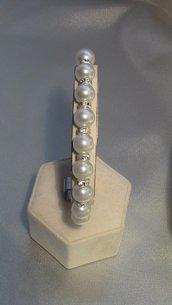 Bracciale di perle e rondelle con strass