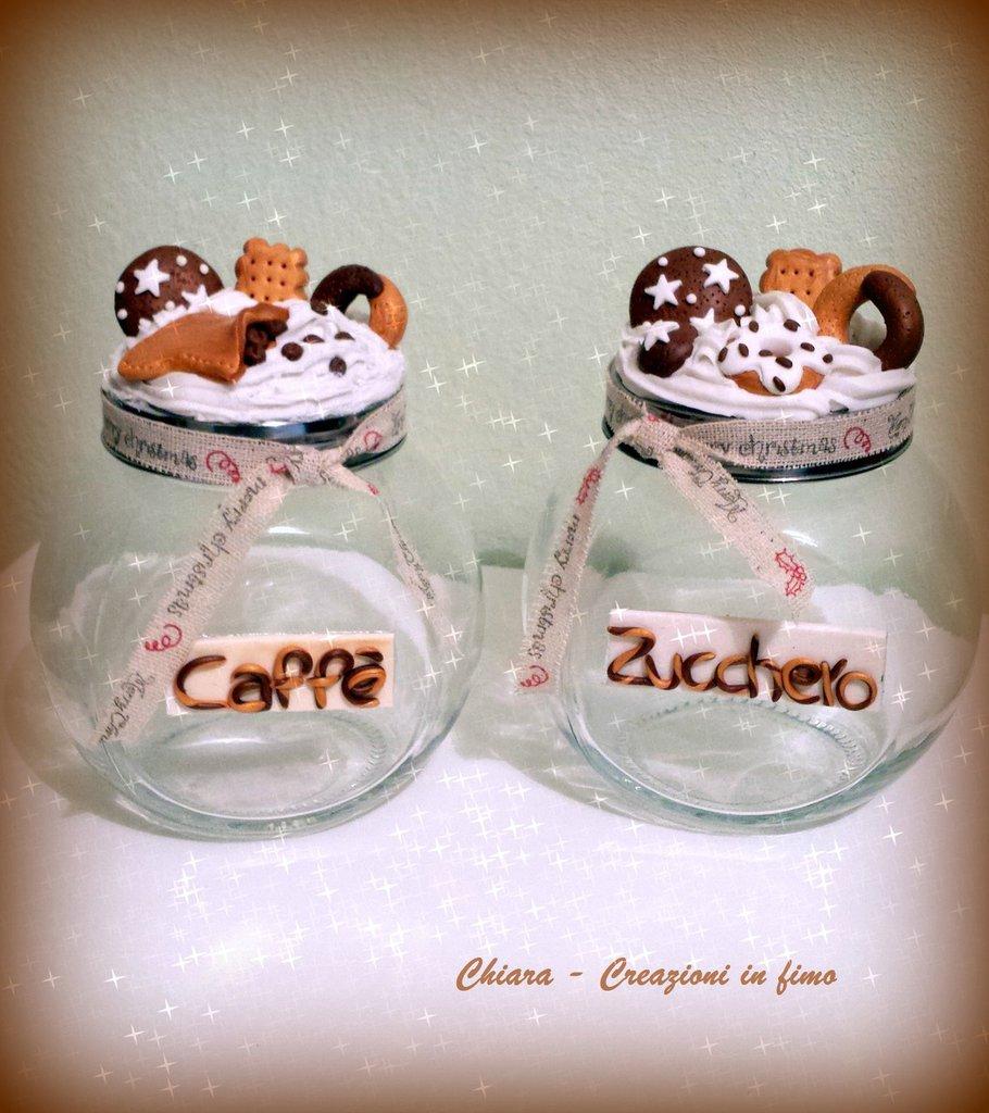 Barattoli in fimo handmade con biscotti pan di stelle gocciole abbracci macine idee regalo bomboniera compleanno matrimonio personalizzabile