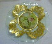 piatto vetro con inserti dorati
