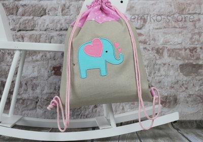 Zaino personalizzata. - Zaino con nome. elefante