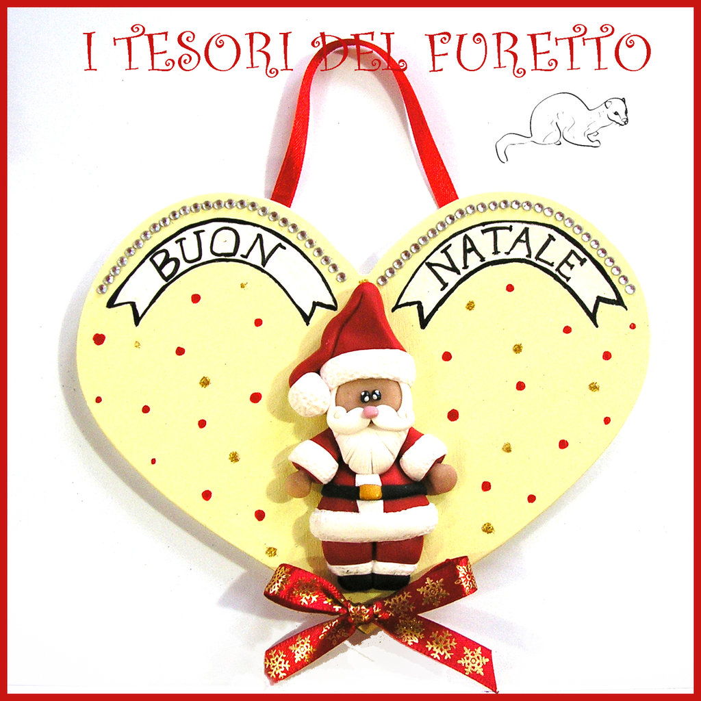 """Fuoriporta Natale 2016 """" Babbo Natale """" Fimo cernit Kawaii legno idea regalo cuore ghirlanda targhetta targa quadretto idea regalo decorazione da appendere"""