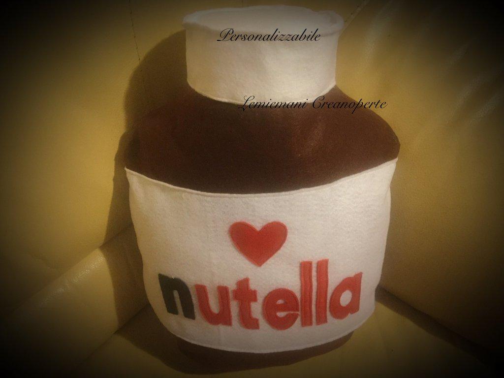 Cuscino vasetto Nutella idea regalo San Valentino handmade