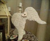 Ali d'angelo di lana lamè e legno