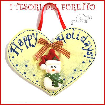 """Fuoriporta  Natale 2016 """" Pupazzo di neve """" omino Cuore legno Fimo cernit Kawaii idea regalo targhetta quadretto targa decorazione addobbo"""