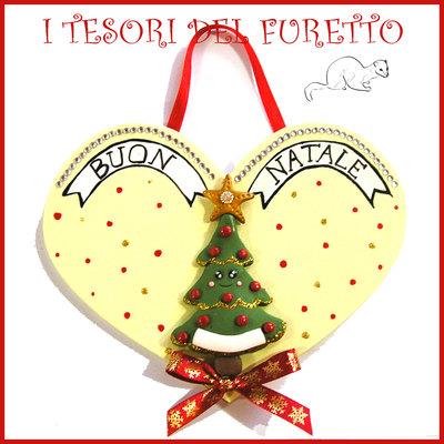 """Fuoriporta  Natale 2016 """" Albero di Natale"""" Cuore legno Fimo cernit Kawaii idea regalo targhetta quadretto targa decorazione addobbo"""