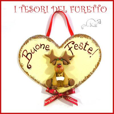 """Fuoriporta  Natale 2016 """" Renna """" Cuore legno Fimo cernit Kawaii idea regalo targhetta quadretto targa decorazione addobbo"""