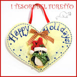 """Fuoriporta  Natale 2016 """" Pinguino natalizio """" Cuore legno Fimo cernit Kawaii idea regalo targhetta quadretto targa decorazione addobbo"""