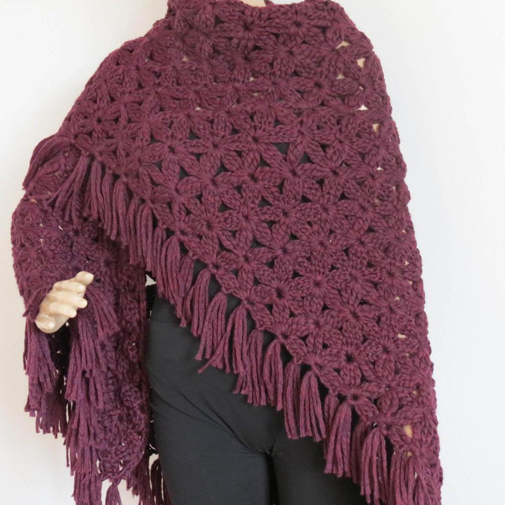 scialle in lana bordò