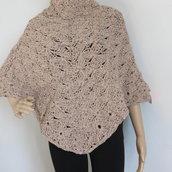 poncho in lana merinos tweed color nocciola