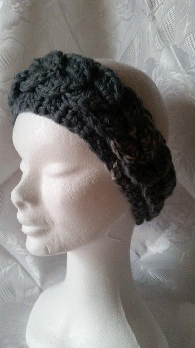 Fascia in lana per capelli color grigio sfumato