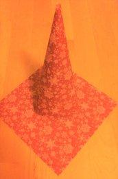 decorazione albero di natale cartoncino UNO NE HAI UN ALTRO LO FAI fantasia fiocchi di neve su sfondo rosso scuro