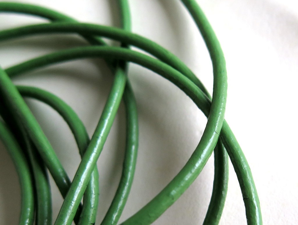 1m Cordino in pelle verde   FCO14