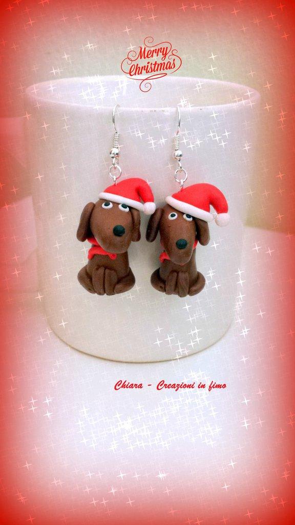 Orecchini in fimo handmade Cani Bassotti Babbo Natale kawaii miniature idee regalo amica