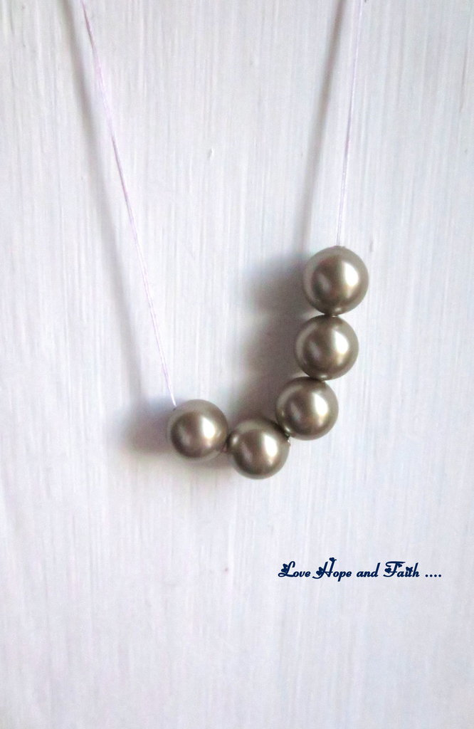 "LOTTO 5 perle ""Platinium Pearl  "" (8 mm) (cod. S5810)"