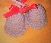 coppia di campane addobbo natalizio in lana grigia e fiocchino seta rosso